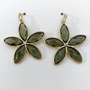 NWT The Loft Crystal Flower Drop Earrings